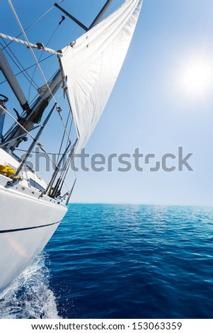 Sailing boat in the sea in Greece - stock photo