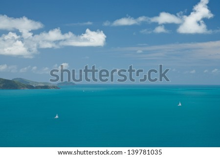 sailing boat in the Whitsunday Islands - stock photo