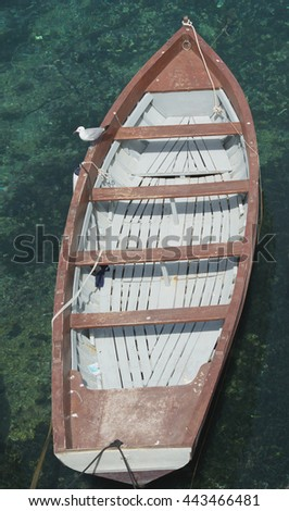 Sailing boat in top view - stock photo