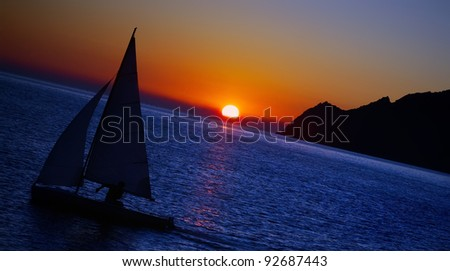 sailing boat on sea at sunset, Cinque Terre, Italy - stock photo