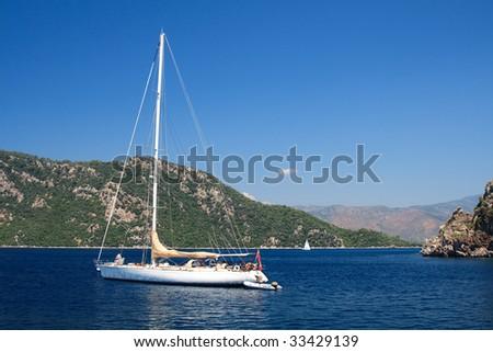 sailing boat on the Aegean Sea near Marmaris in Turkey - stock photo