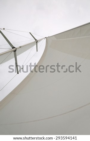 Sailing boat sail and mast detail - stock photo