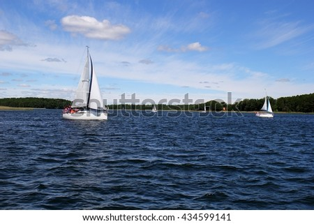 Sailing boat, the Masurian Lake District, North-East Poland - stock photo