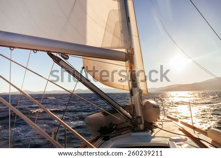 Sailing boat wide angle view in the sea, instagram toning