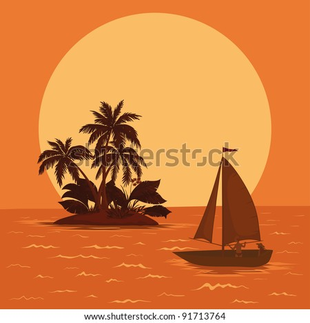 Sailing boat with a people floating in the tropical sea against the backdrop of the island with palm and sun - stock photo