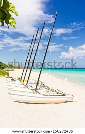 Sailing boats at a marina in Varadero Beach, Cuba - stock photo