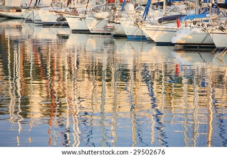 sailing boats at marina of the city of Cannes, southern France - stock photo