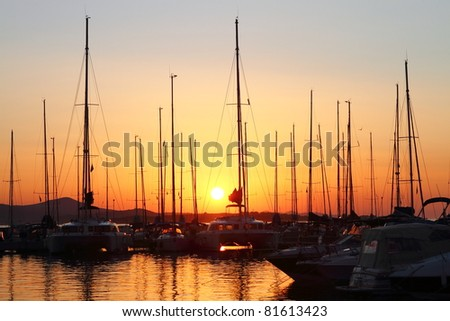 Sailing boats in marina at sunset