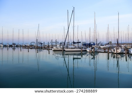 Sailing boats in the marina, lake Balaton, Hungary - stock photo