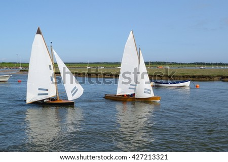 Sailing boats in Wells-next-the-sea harbor, Norfolk, England - stock photo
