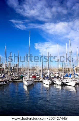 Sailing boats in yacht club at summer, Spain  - stock photo