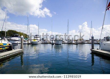 Sailing boats moored in Nelson Bay Harbour, New Southn Wales, Australia - stock photo