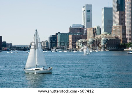 Sailing boats on St Charles River and skylines on background, Boston, Mass