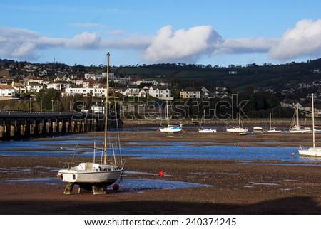 Sailing Boats on the Teignmouth estuary devon uk - stock photo