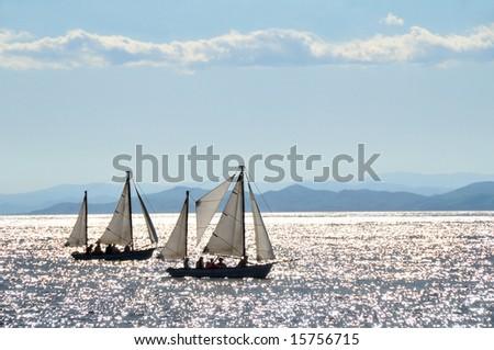 sailing boats regatta against the sunset - stock photo