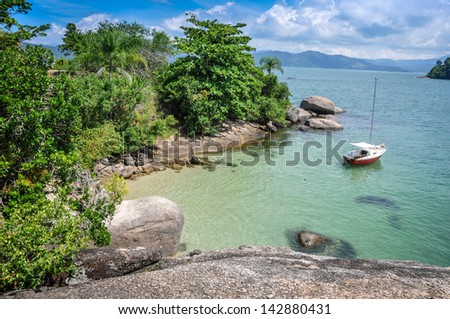 Sailing Brazil, Perfect day tour at Paraty Rio do Janeiro, tropical adventure. Beautiful turquoise sea.  - stock photo
