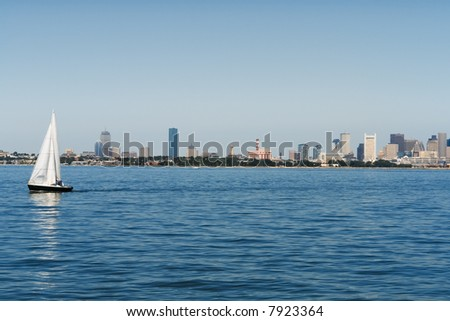 Sailing in Boston Harbor - stock photo
