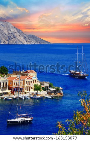 sailing in Greek islands. Symi. Dodecanes - stock photo