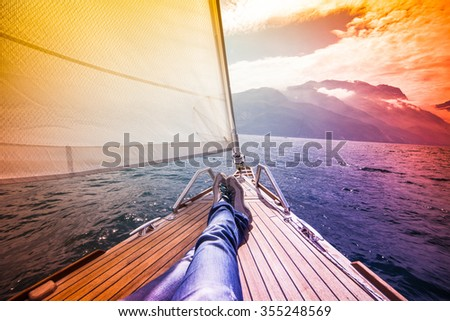 sailing in relax - stock photo