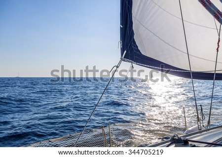 Sailing in the Aegean sea, Greece