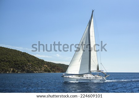 Sailing in the Aegean Sea. Luxury yachts. - stock photo
