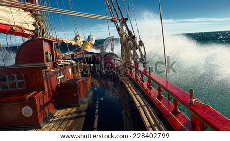 Sailing in the storm. Series of ships and yachts - stock photo