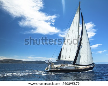 Sailing in the wind through the waves. Sailing. Luxury yachts.  - stock photo