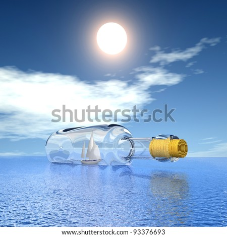 Sailing luxury yacht in the bottle on beautiful seascape. Concept - protection of travel. - stock photo