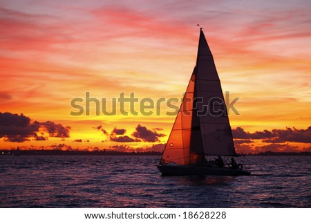 Sailing on a beautiful evening - stock photo