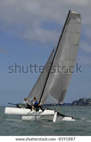 Sailing on a Catamaran Yacht - stock photo