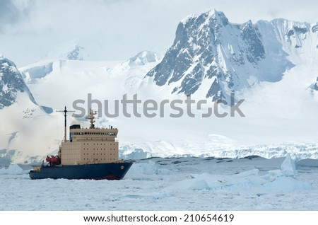 sailing on an icebreaker iced Antarctic Strait spring day - stock photo