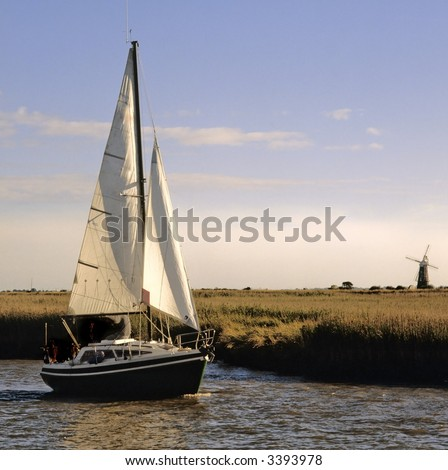 sailing on the norfolk broads river waveney berny arms mill burgh castle norfolk broads national park east anglia england uk europe - stock photo