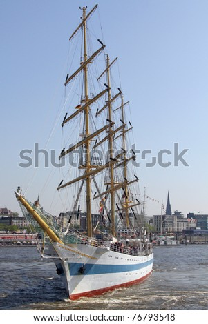 sailing on the river Elbe, Germany - stock photo