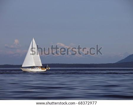 Sailing Past Mount Baker - stock photo