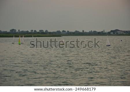Sailing , pool , backyard luxury - stock photo