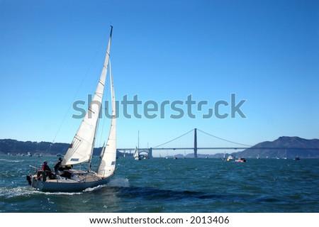 Sailing San Francisco Bay - stock photo