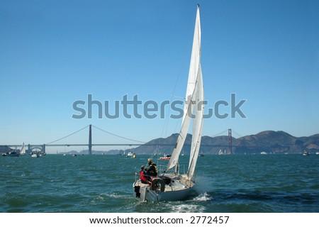 Sailing San Francisco Bay 2 - stock photo