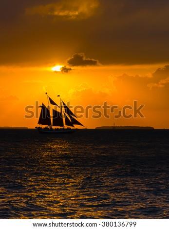 Sailing Schooner at Sunset, Key West, Florida - stock photo