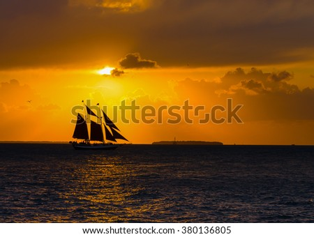 Sailing Schooner at Sunset, Key West, Florida