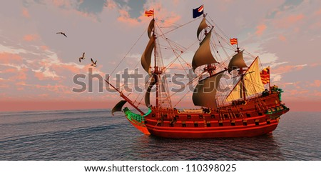 Sailing Ship - A brigantine ship sails on a journey to a distant port on a beautiful summer day. - stock photo