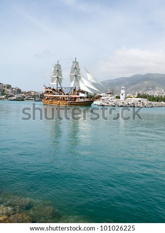 sailing ship, Alanya Turkey - stock photo