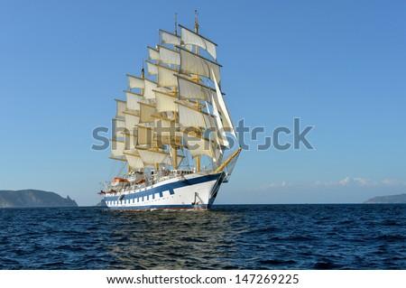 Sailing ship. Cruises sail - stock photo