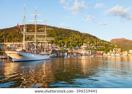 Sailing ship entering the port of Bergen, Norway - stock photo