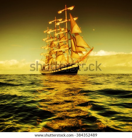Sailing ship in a beautiful sunset. Effects of toning and instagram.  Sailing. Yachting - stock photo