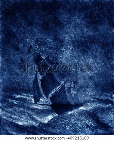 sailing ship in a great storm - stock photo