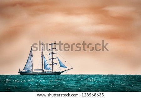Sailing ship in a mystic sea - stock photo
