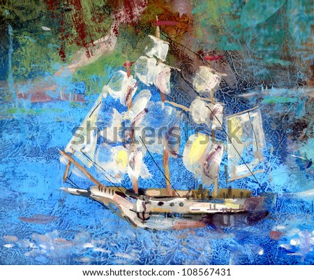 sailing ship is drawn with paints - stock photo
