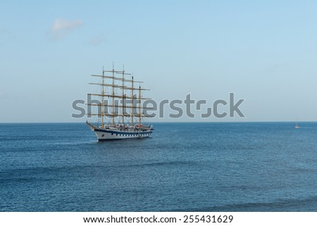 Sailing ship on Basseterre Bay, St. Kitts - stock photo