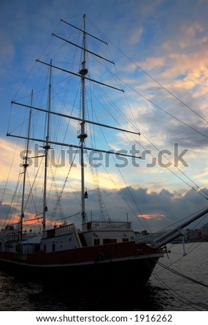 sailing ship over the sunset