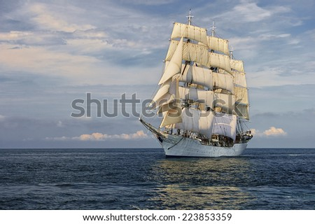 Sailing ship.  Series of ships and yachts - stock photo